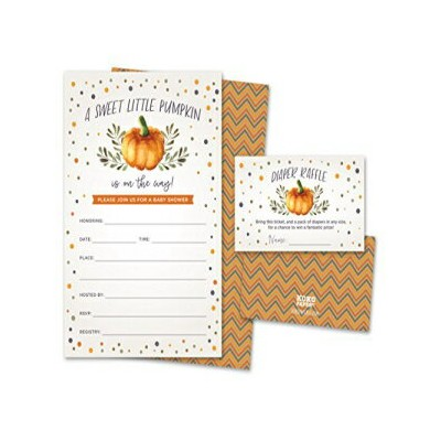 Koko Paper Co Sweet Little Pumpkin on The Way Rustic Fall Baby Shower Invitations and Diaper Raffle...
