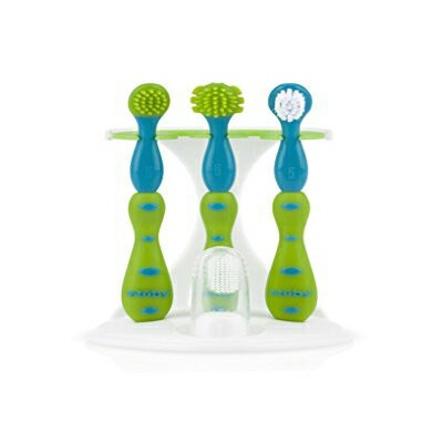 Nuby 4-Stage Oral Care Set with 1 Silicone Finger Massager, 2 Massaging Brushes, 1 Nylon Bristle...