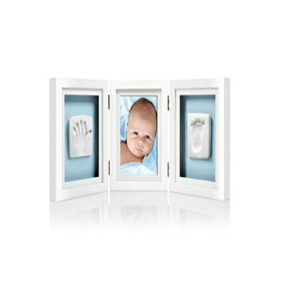 Pearhead Babyprints Newborn Baby Handprint and Footprint Deluxe Desk Photo Frame & Impression Kit -...