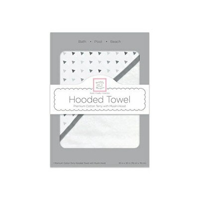 SwaddleDesigns Cotton Terry Baby Hooded Towel, Tiny Triangle Shimmer, Sterling