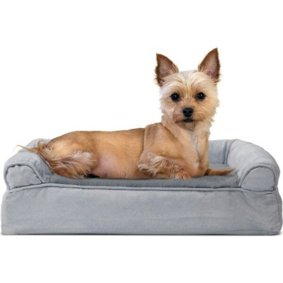 FurHaven ファーヘイヴン ペットグッズ 犬用品 ベッド・マット・カバー ベッド【Plush and Suede Cooling Gel Top Memory Foam Sofa Dog Bed】gray