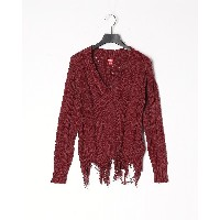 GUESS YVES CABLE DESTROY SWEATER○Q0BQ10RA1E1 ボルドー トップス