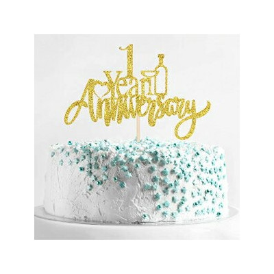 Birthday Queen Gold 1 Year Anniversary Cake Topper, 1 Year Wedding Anniversary Party Decorations,...