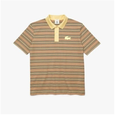 LACOSTE LACOSTE L!VE マルチボーダーコットンジャージポロシャツ ラコステ カットソー ポロシャツ イエロー【送料無料】