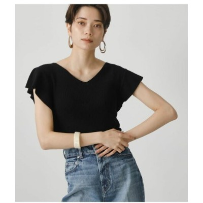 【SALE/30%OFF】AZUL by moussy RUFFLE 2WAY KNIT TOPS アズールバイマウジー ニット ニットその他 ブラック イエロー