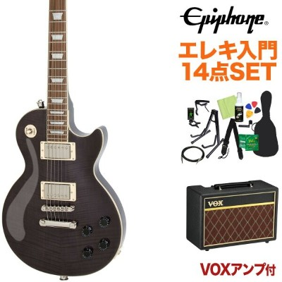 Epiphone Les Paul Tribute Plus Outfit Midnight Ebony エレキギター 初心者14点セット【VOXアンプ付き】 レスポール 【エピフォン】