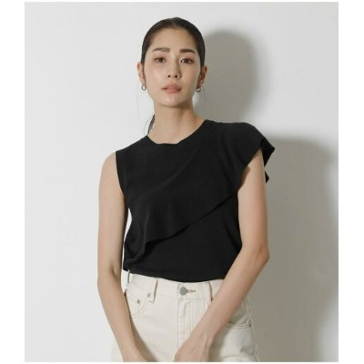 【SALE/30%OFF】AZUL by moussy ROUND FRILL KNIT TOPS アズールバイマウジー カットソー タンクトップ ブラック グリーン
