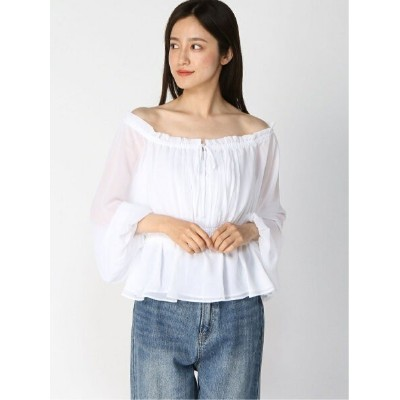 【SALE/30%OFF】GUESS (W)Allie Off-the-Shoulder Top ゲス シャツ/ブラウス 長袖シャツ ホワイト【送料無料】