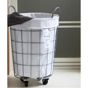 【TIMELESS COMFORT(タイムレスコンフォート)】 BRID WIRE ARTS & PRO.laundry ROUND BASKET WITH CASTER_33L 洗濯かご...