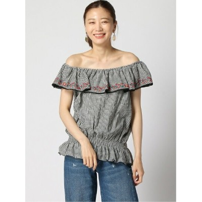 【SALE/60%OFF】GUESS (W)OFF-SHOLDER TOP ゲス シャツ/ブラウス シャツ/ブラウスその他 ブラック レッド【送料無料】