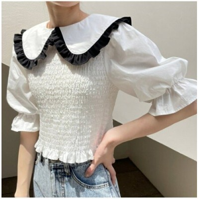 one after another NICE CLAUP 【web限定】大きな襟シャーリングブラウス ワンアフターアナザー ナイスクラップ シャツ/ブラウス シャツ/ブラウスその他 ホワイト...