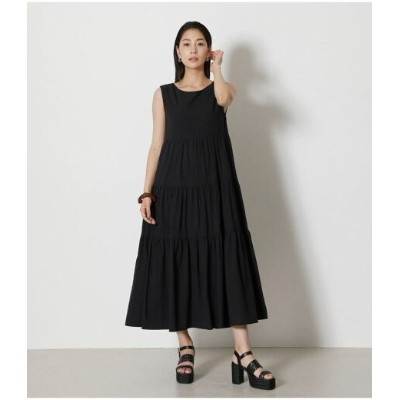【SALE/50%OFF】AZUL by moussy 2WAY TIERED LONG ONEPIECE アズールバイマウジー ワンピース 5ー9分袖ワンピース ブラック グリーン ホワイト