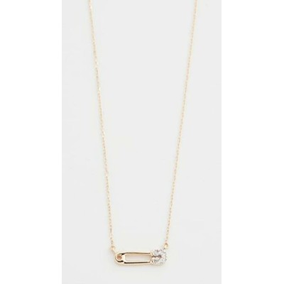 14k Super Tiny Pave Safety Pin Necklace レディース