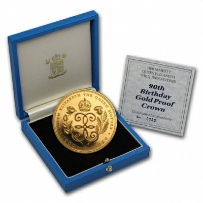 Great Britain 1990 Gold 5 Pounds Queen Mother Proof