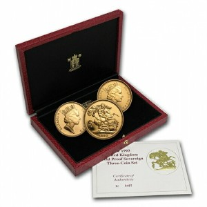 Great Britain 1993 3 Coin Gold Sovereign Proof Set
