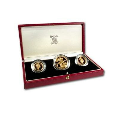Great Britain 1987 3 Coin Gold Sovereign Proof Set