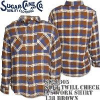 Sugar Cane(シュガーケーン)SOFT TWILL CHECK L/S WORK SHIRT Brown SC26305-138