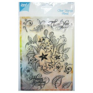 【6410-0309】Joy! Crafts/ジョイ・クラフツ/Clear Stamps/クリアスタンプ/Text ENG - floral pattern スクラップブッキング ダイカット...