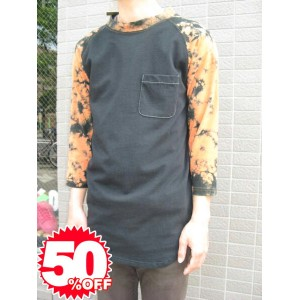 【1万円以上で送料無料】★Special Sale!! 50%OFF!!★ addnine TEE SHIRT M black/orange