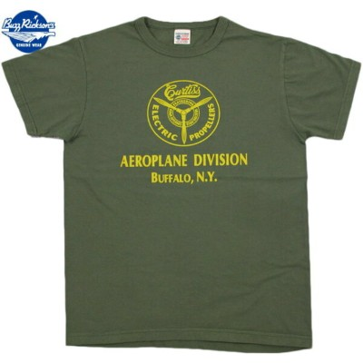 """BUZZ RICKSON'S/バズリクソンズS/S CONTRACTOR T-SHIRT""""CURTISS AEROPLANE DIVISION"""" コンストラクタープリントTシャツ OLIVE..."""
