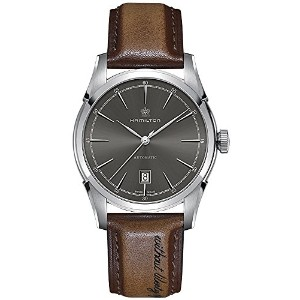 ハミルトン メンズ 腕時計 Hamilton Spirit of Liberty Automatic Grey Dial Brown Leather Mens Watch H42415591