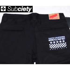 SubcietyサブサエティWORK PANTS -CLASSIC- PRINTED(MOTORCYCLE)BLACK