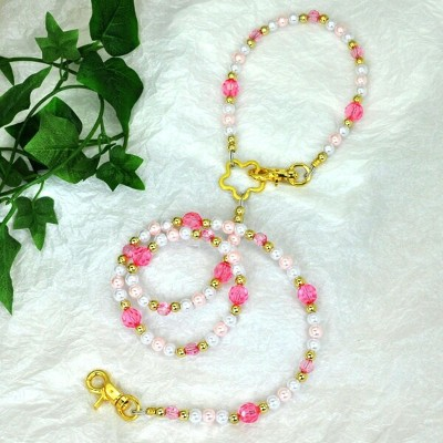 【L'ange】 ビーズリード&ネックレス高級2点セット 【pink pearl desing】 Beads Leash & Necklace Collection