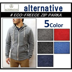 【alternative apparel/オルタナティブアパレル】-ECO-FLEECE ZIP PARKA-