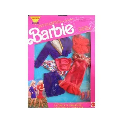 Barbie Day To Night Fashions Set AUTUMN SPARKLE 2 Easy to Dress Outfits (1991 Mattel Canada)