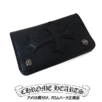 【CHROME HEARTS】クロムハーツ 財布1 Zip Leather Cross Buttons Wallet Cemetary Patch(Black)1ジップ レザー クロス ボタン...