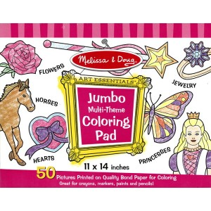 ◎JUMBO COLORRING PAD 女の子用塗り絵セット 【ピンク】