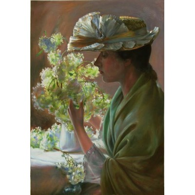 油絵 Charles Courtney Curran_花と婦人