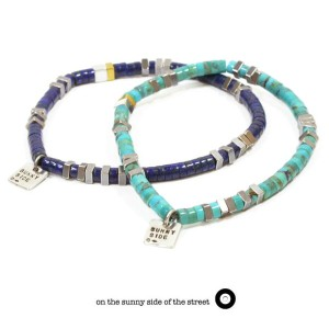 on the sunny side of the street410-301 /Heishi beads & SQUARE Braceletw/square sunny side charmBrace...