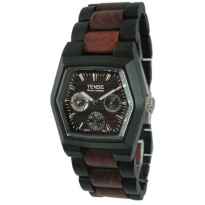 テンス 時計 メンズ 腕時計 木製 Tense Two-Tone Sandalwood Mens Triple Dial Hexagon Wood Watch Dark/Sandalwood...