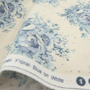 生地 Tilda ティルダ Summer Floral Blue on White 480880 【数量×50cm単位】