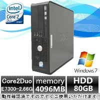 中古パソコン windows7 デスクトップ【Windows 7搭載】DELL Optiplex 760 Core2Duo E7300 2.93G/4G/80GB/DVD-ROM【中古】...