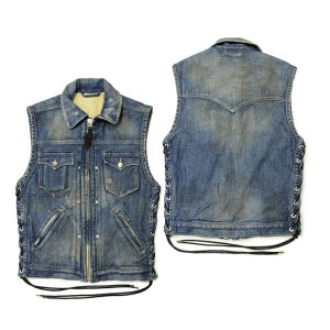 "【SKULL FLIGHT スカルフライト】ベスト/DENIM CLUB VEST ""FULL COLLAR""DAMAGE INDIGO !REAL DEAL"