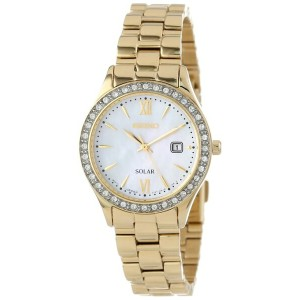 国内在庫 Seiko Women's SUT076 Gold-Tone Stainless Steel and Swarovski Crystal Solar Watch レディース腕時計 正規輸入品