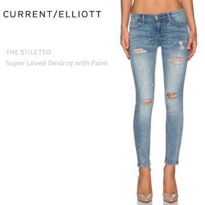 【SALE】CURRENT ELLIOTT(カレントエリオット)THE STILETTO Super Loved Destroy with Paintスキニー/クロップド/ダメージデニム/ペイント