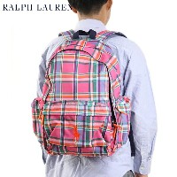 "Ralph Lauren ""BIG PONY"" School Backpack US ラルフローレン バックパック (PINK MULTI PLAID)"