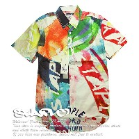 STAPLE DESIGN シャツ 半袖 / ステイプル デザイン / The Acrylic SS Buttondown Shirt in White / Mサイズ / White/Multi /...