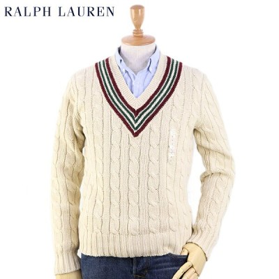 Ralph Lauren Men's Linen & Cotton School Sweater US ポロ ラルフローレン Vネック セーター
