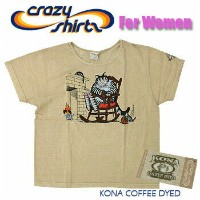 Crazy Shirts(クレイジーシャツ)-Womens- S/S Scoope Neck Tee @Coffee Dyed[2004601] GRANDMA CAT クリバンキャット 半袖...