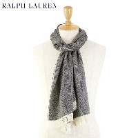 POLO by Ralph Lauren Virgin Wool Scarf (BLACK/CREAM)ラルフローレン スカーフ マフラー