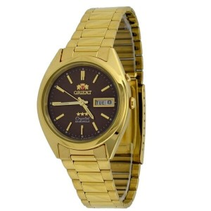 オリエント Orient #FEM0401HT Men's Gold Tone Tri Star Brown Dial Automatic Watch メンズ腕時計 正規輸入品 腕時計