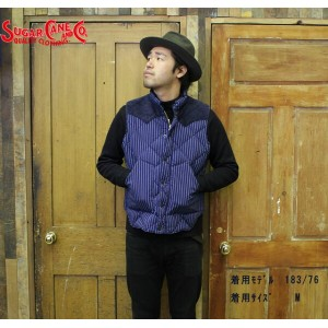 No.SC13328 SUGAR CANEシュガーケーン10oz. DENIM DOWN VESTwith LEATHER YOKE