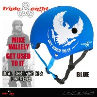 TRIPLE EIGHT ヘルメット MIKE VALLELY マイクバレリー GET USED TO IT BLUE DUAL CERTIFIED EPS LINER仕様 【トリプルエイト...