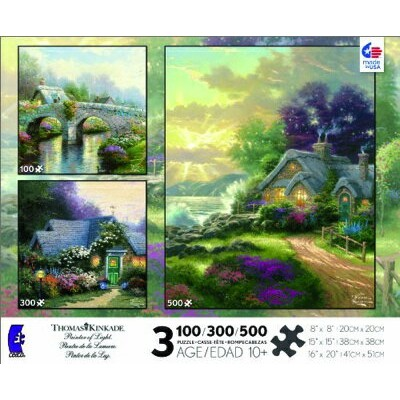 トーマスキンケード マルチパックジグソーパズル Thomas Kinkade 3 in 1 Multi Pack: Blossom Bridge, Weathervane Hutch, A New...