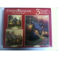 パズルセット トーマスキンケード Thomas Kinkade Painter of Light - 3 Full Size Jigsaw Puzzles-Winsor Mansion...