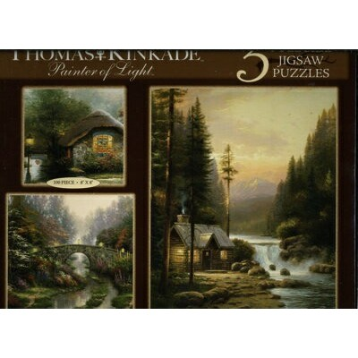 トーマスキンケード Thomas Kinkade Painter of Light-3 FullSize Jigsaw Puzzles-Collector's Cottage,Stillwater...